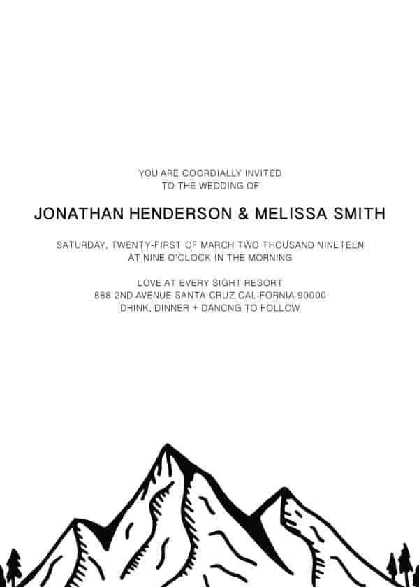Mountain Peak, Wedding Invitation Cards with RSVP postcards Branches, Wedding Invitations, Hike Wedding
