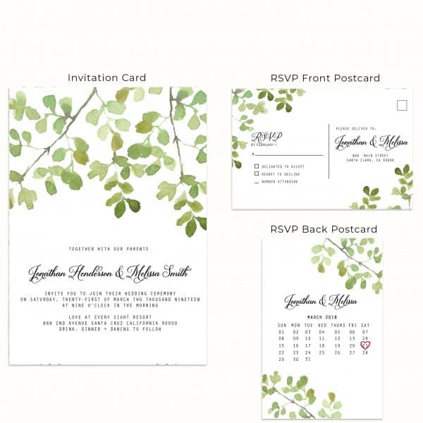 Marvelous Green, Wedding Invitation Cards with RSVP postcards Branches, Wedding Invitations, Spring Wedding