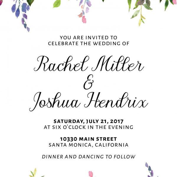 Floral Purple, Wedding Invitation Cards with RSVP postcards leaves, Wedding Invitations, Cheap Wedding Invitations