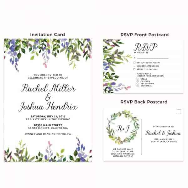 Floral Purple, Wedding Invitation Cards with RSVP postcards leaves, Wedding Invitations, Cheap Wedding Invitations