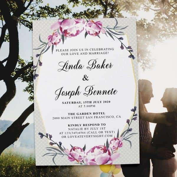 Rustic Geometric Frame Spring Wedding Reception Invitations, Casual Elopement Party Cards Pink Flowers  elopement364