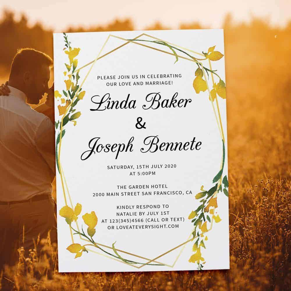 Floral Geometric Frame Yellow Spring Wedding Reception Invitations, Casual Elopement Party Cards Yellow Flower elopement363