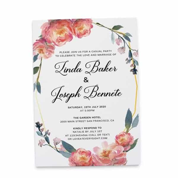 Pink Poeny Floral Frame Spring, Garden and Outdoor Wedding Reception Flat Card elopement362