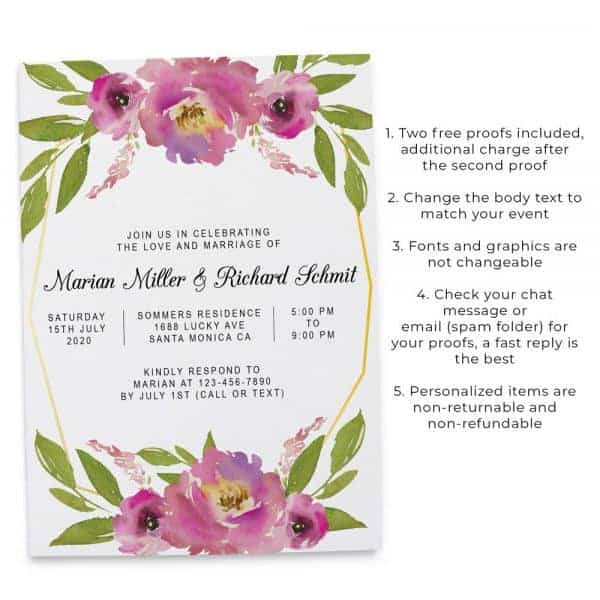 Floral Geometric Frame Spring Wedding Reception Invitations, Casual Elopement Party Cards Flower elopement365