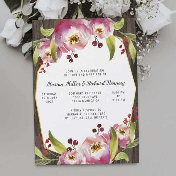 Floral Geometric Frame Spring Wedding Reception Invitations, Casual Elopement Party Cards Pink Flowers  elopement367