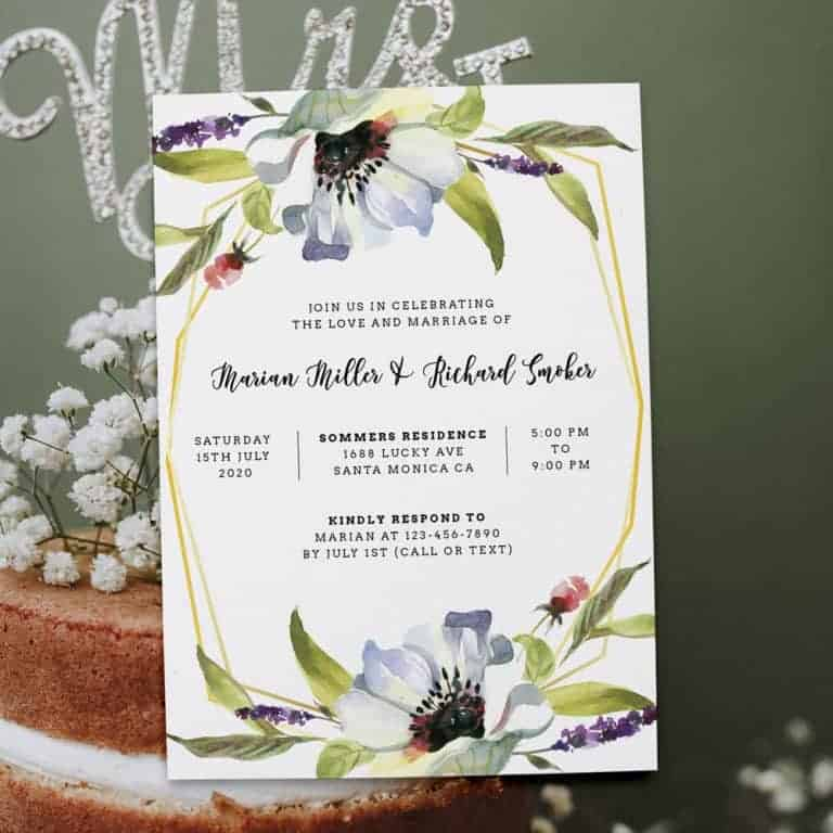 Floral Geometric Frame Spring Wedding Reception Invitations, Casual Elopement Party Cards Flower elopement366