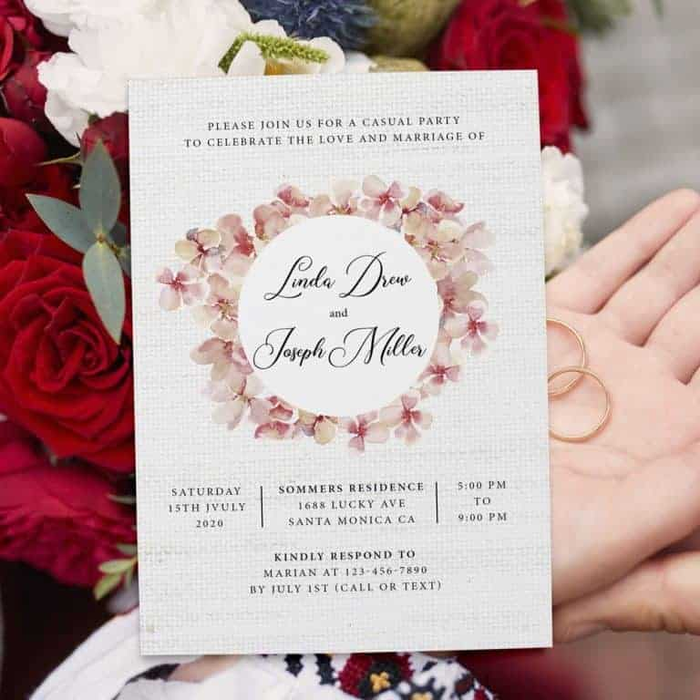 Rustic Pink Coral Floral Wedding Elopement Reception Cards elopement371