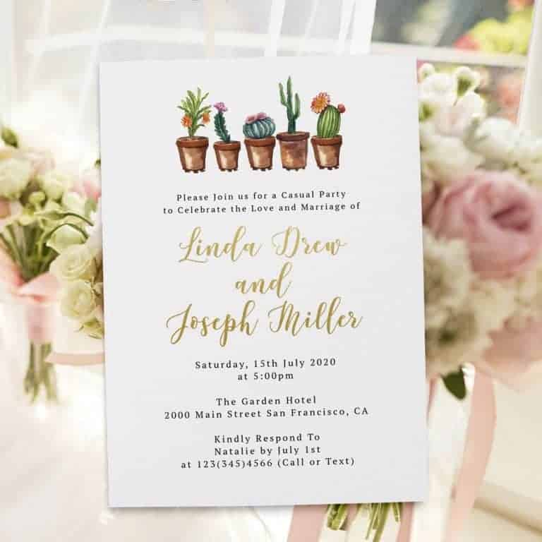 Rustic Cactus Succulent Wedding Elopement Reception Flat Cards  elopement370