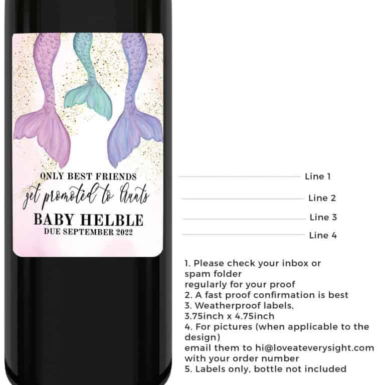 Only best friends get promoted to aunts mermaid tail baby pregnancy announcement wine labels, sold in sets of four bwinelabel165
