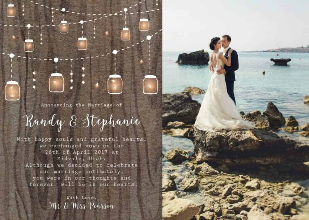 Rustic Elopement Cards, String Lights Elopement Announcement Cards elopement141
