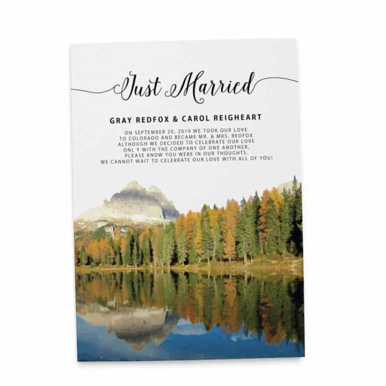 Just Married Wedding Elopement Announcement Cards, Fall Autumn Mountains Wedding Elopement Card, Announcement Cards elopement153
