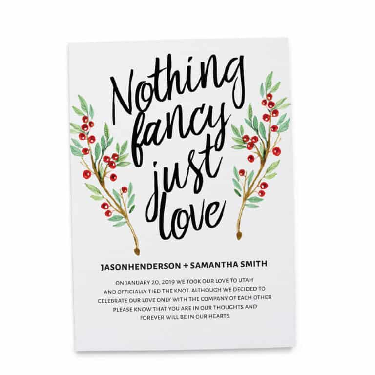 Nothing Fancy Just Love Elopement Announcement Cards, Christmas, Holiday Wedding Elopement Card, Announcement Cards elopement179
