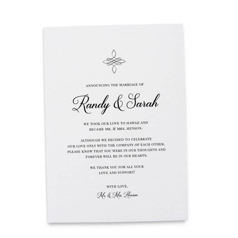 Elegant Elopement Announcement Cards, Wedding Announcement Cards, Printed and Printable Elopement Announcement Cards elopement181