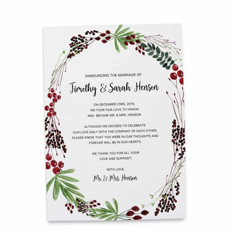 Holiday Christmas Elopement Announcement Cards, Christmas, Holiday Wreath Wedding Elopement Card, Announcement Cards elopement183