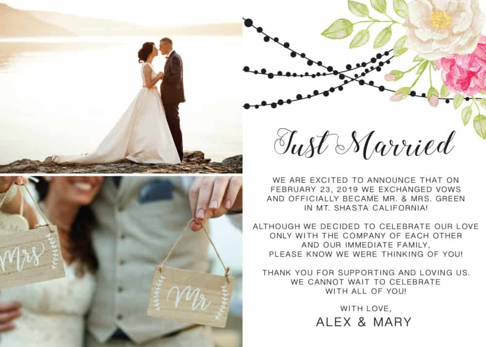 Just Married, Flat Elopement Announcement Cards with Photos, Personalized Post-Wedding Notice, Marriage Announcement Cards elopement198