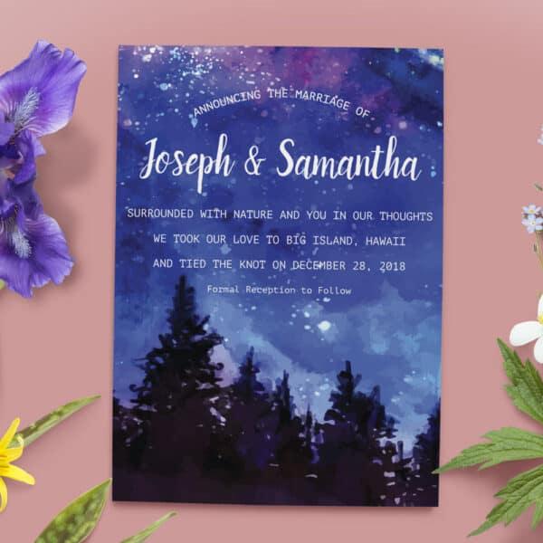 Elopement Announcement Cards, Wedding Announcement Cards, Printed and Printable Elopement Announcement Cards elopement22