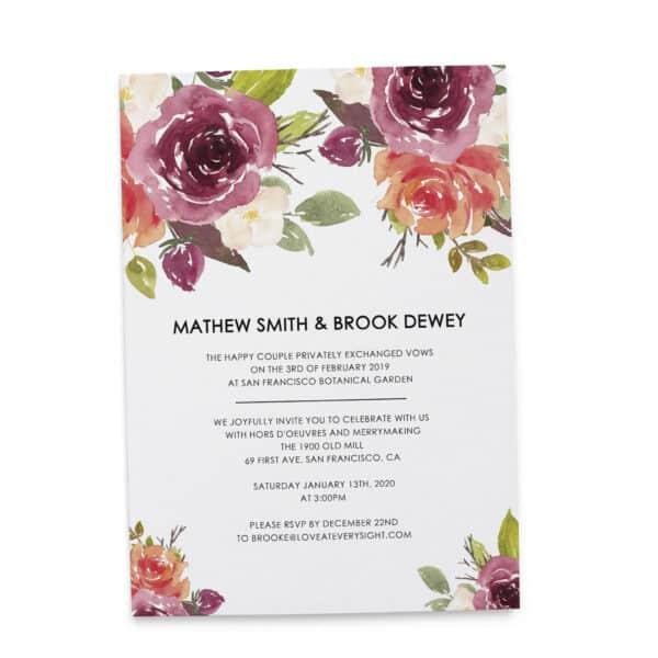 "LoveAtEverySight Elopement Announcement Invitation ""Fresh Garden"", Wedding Announcement cards, Customizable Wedding Elopement #222 elopement222"