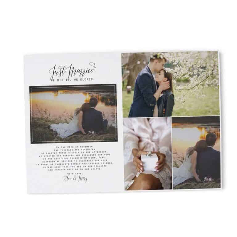 We Did It, We Eloped Wedding Reception Invitations Cards, Simple and Minimalistic Invitation Card elopement225