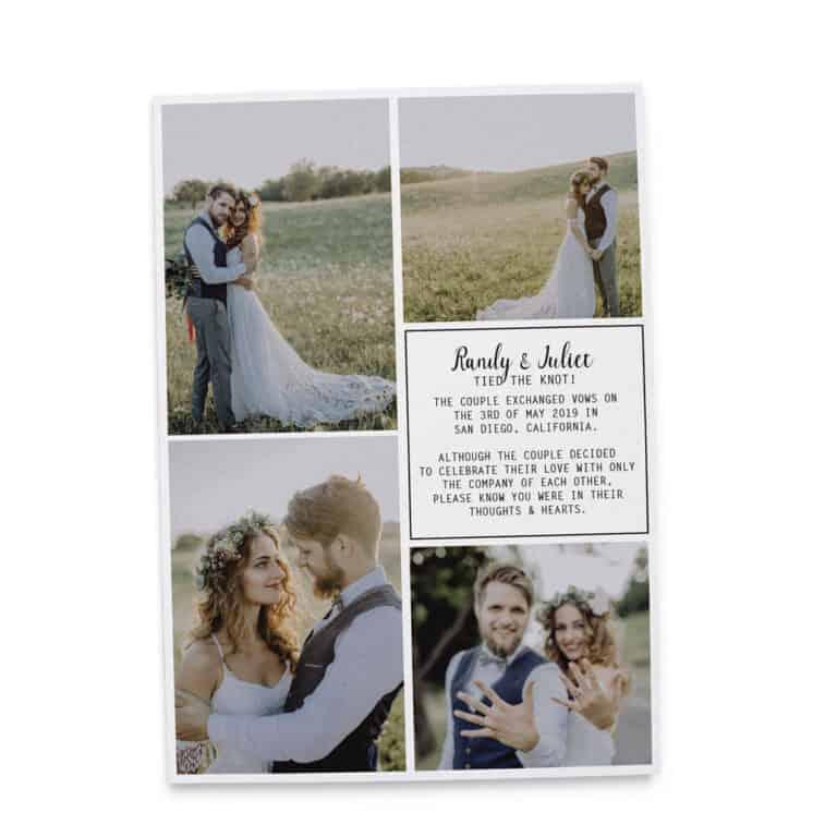Simple Elopement Announcement Cards, Wedding Announcement Cards,Printed and Printable Elopement Announcement Cards elopement233