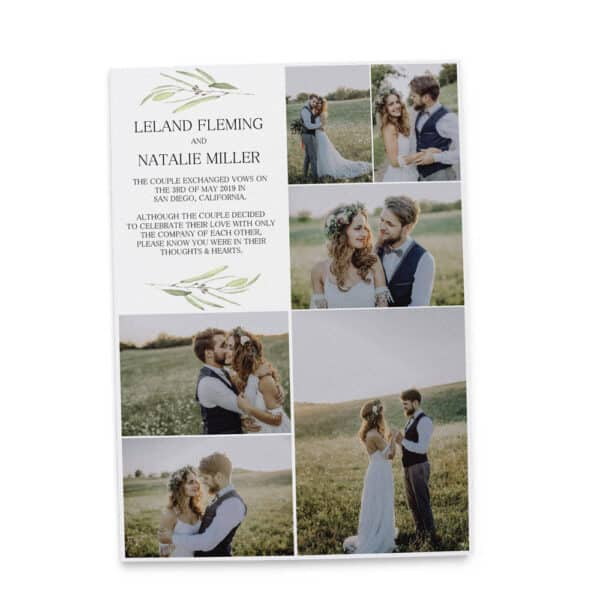 Simple Elopement Announcement Cards, Add your own photos Wedding Announcement Cards,Printed and Printable Elopement Announcement Cards elopement234