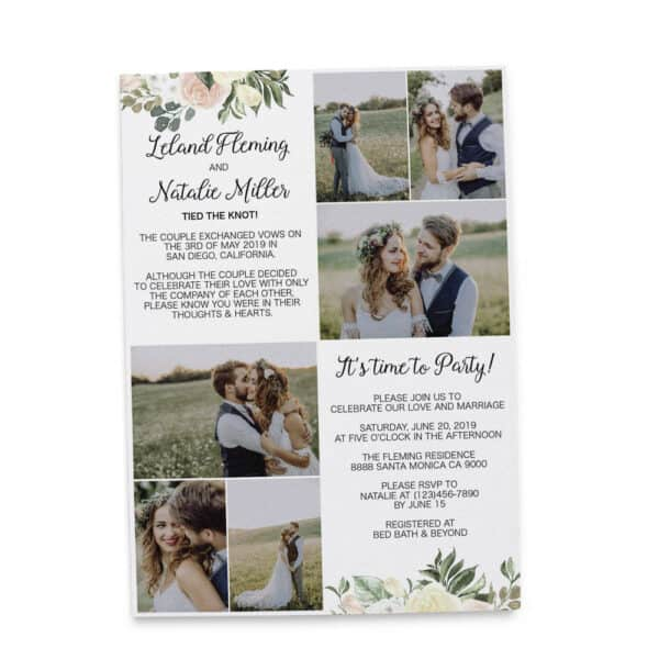 Simple Elopement Announcement Cards, Add your own photos Wedding Announcement Cards, Printed and Printable Elopement Announcement Cards elopement235