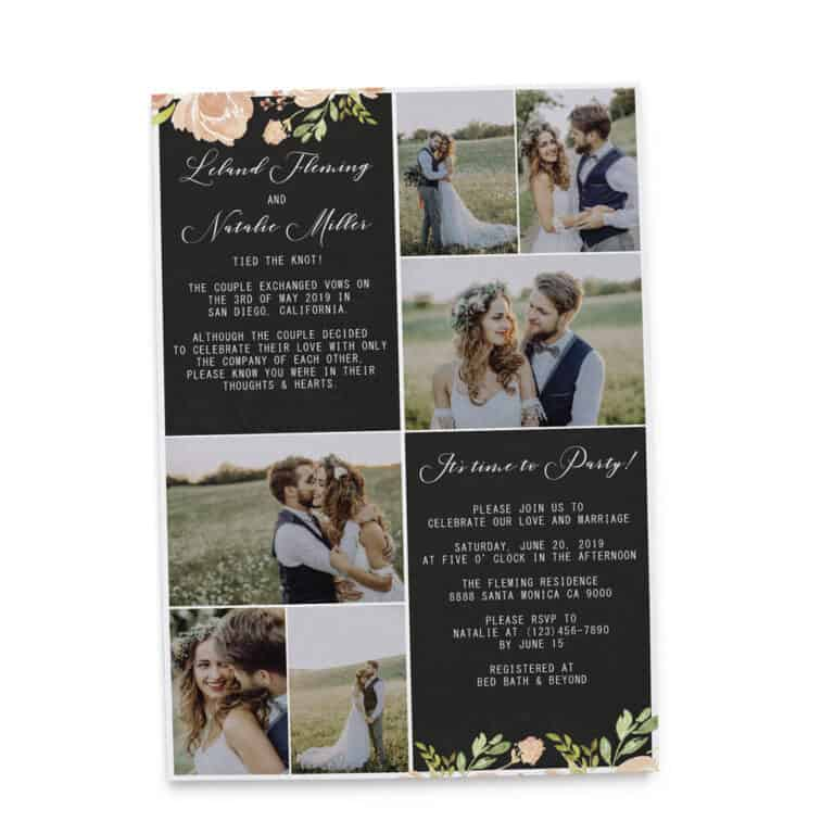 Rustic Elopement Announcement Cards, Add your own photos Wedding Announcement Cards, Printed and Printable Elopement Announcement Cards elopement236