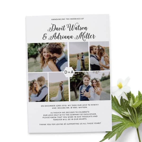 Wedding Announcement, Photo Elopement Announcement Cards, Wedding Elopement Card, Marriage Announcement Cards elopement238