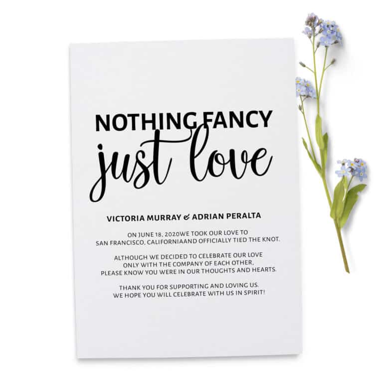 Nothing Fancy Just Love , Floral Elopement Announcement Cards, Wedding Elopement Card, Marriage Announcement Cards elopement242