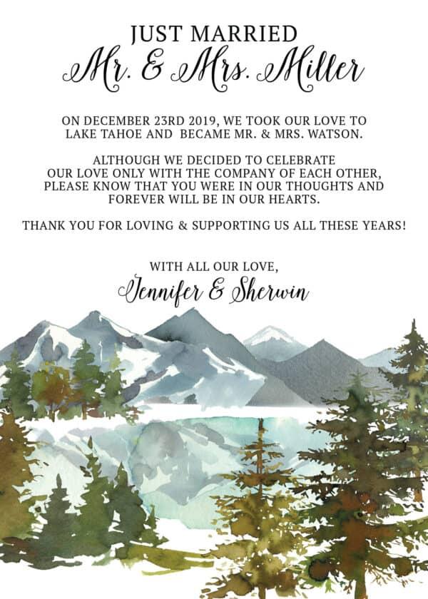 Elopement Announcement Cards, Wedding Announcement Cards, Printed and Printable Elopement Announcement Cards - Winter Mountain Design elopement266