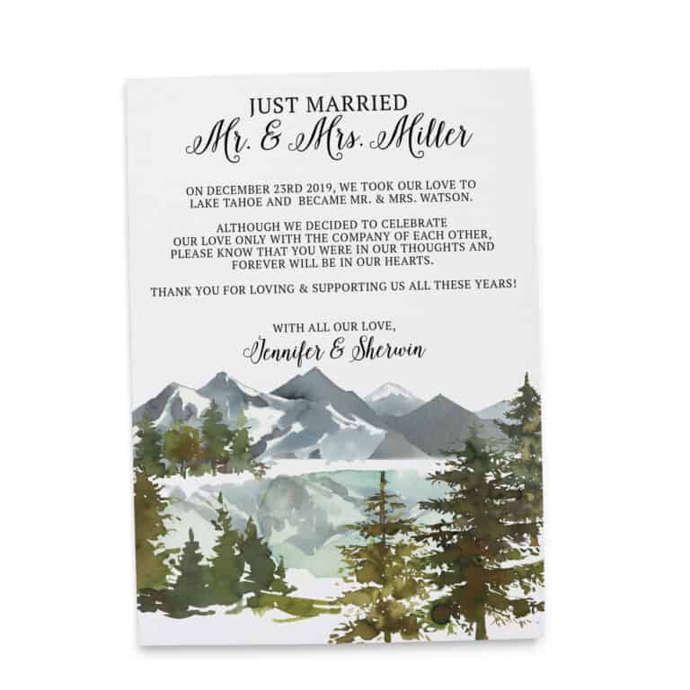 Elopement Announcement Cards, Wedding Announcement Cards, Printed and Printable Elopement Announcement Cards - Winter Mountain Design elopement266