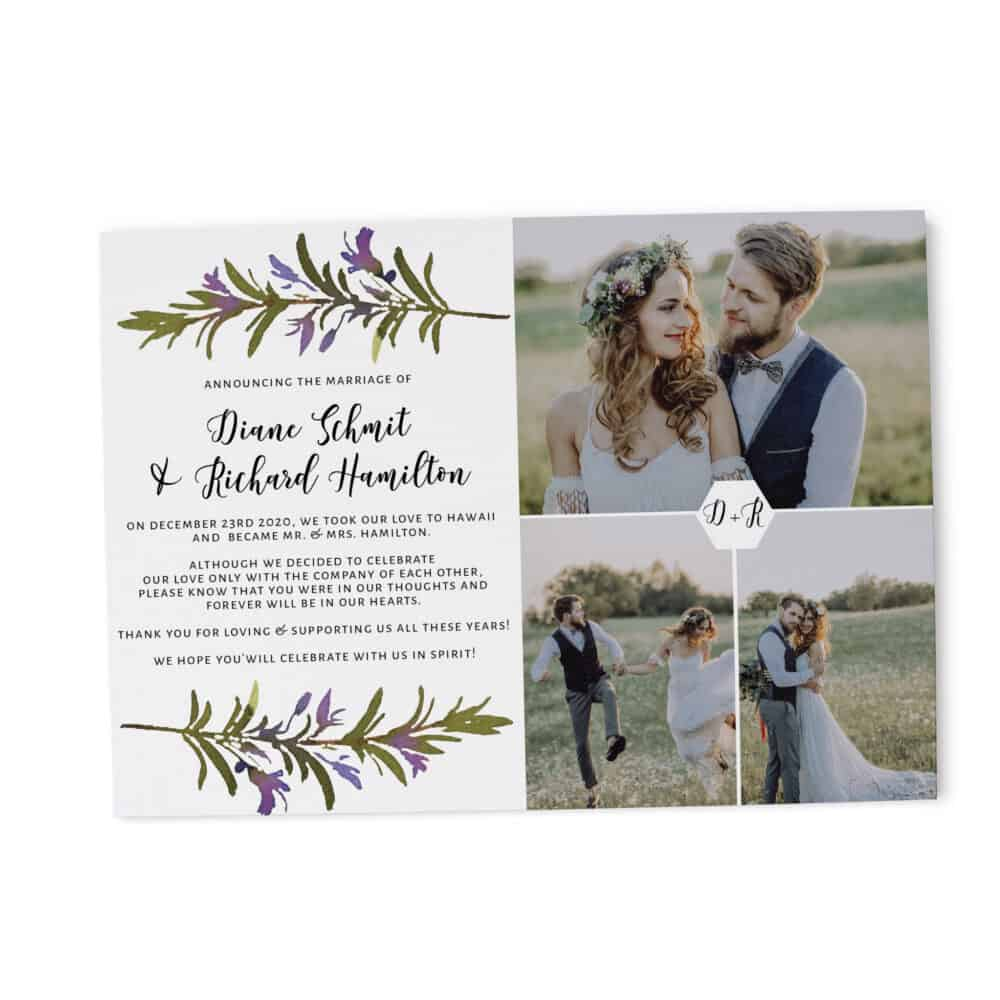 Flat Elopement Announcement Cards with Photos, Announcing the Marriage, Personalized Post-Wedding Notice, Marriage Announcement Cards 285 elopement285
