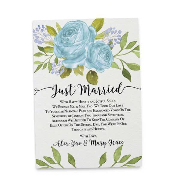 Elopement Announcement Cards, Wedding Announcement Cards, Printed and Printable Elopement Announcement Cards - Bright Blue Design elopement289