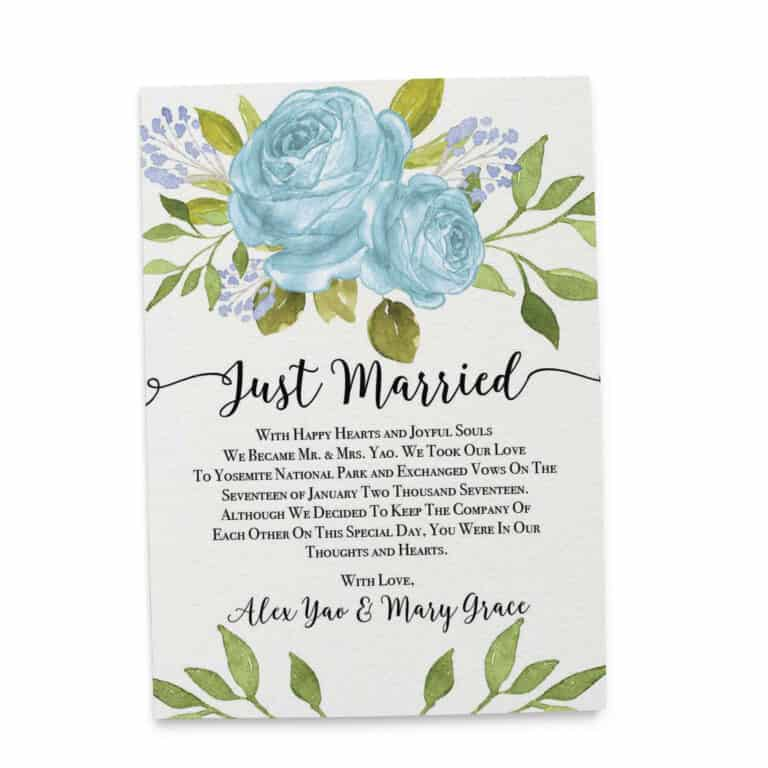 Elopement Announcement Cards, Wedding Announcement Cards, Printed and Printable Elopement Announcement Cards - Bright Blue Design elopement289
