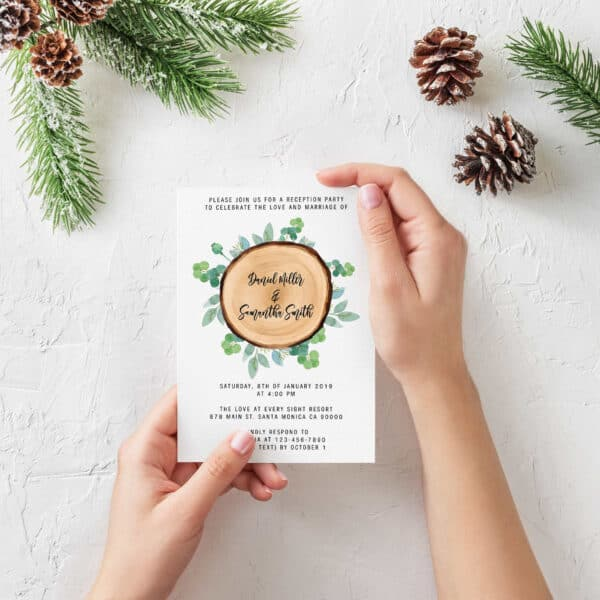 """Wooden Reception Party Invitation Cards,""""Please Join us"""", Elopement Wedding Reception Cards,Reception Invitations for Friends and Family elopement292"""