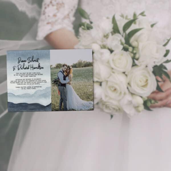 Elopement Announcement Cards with photo, Wedding Elopement Announcement Cards, Watercolour Mountain Design elopement295