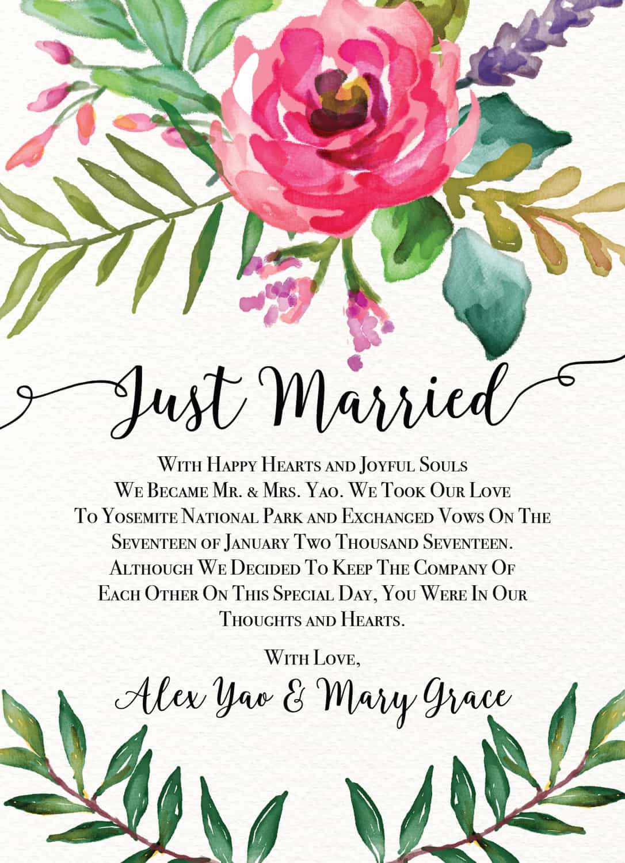 rustic elopement reception card wedding invitation