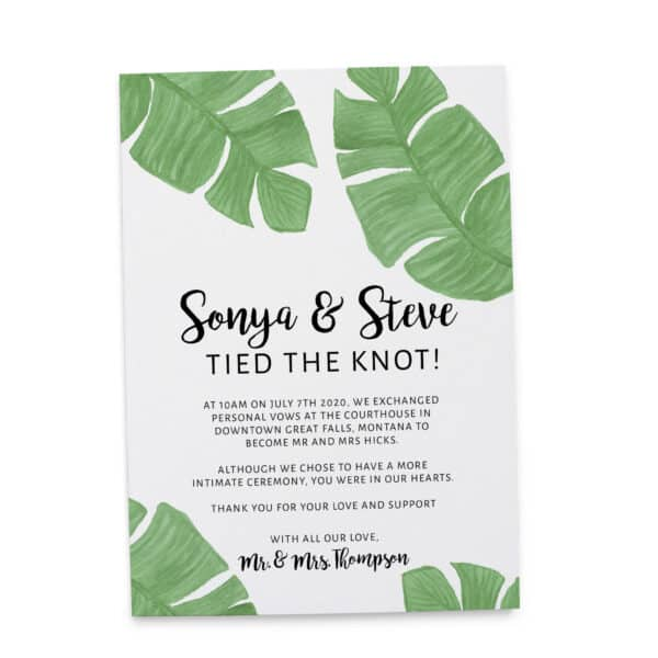 Marriage Announcement Card, Married Couple Announcement Card, Excited to Announce Card, Marvelous Nature Leaves elopement300