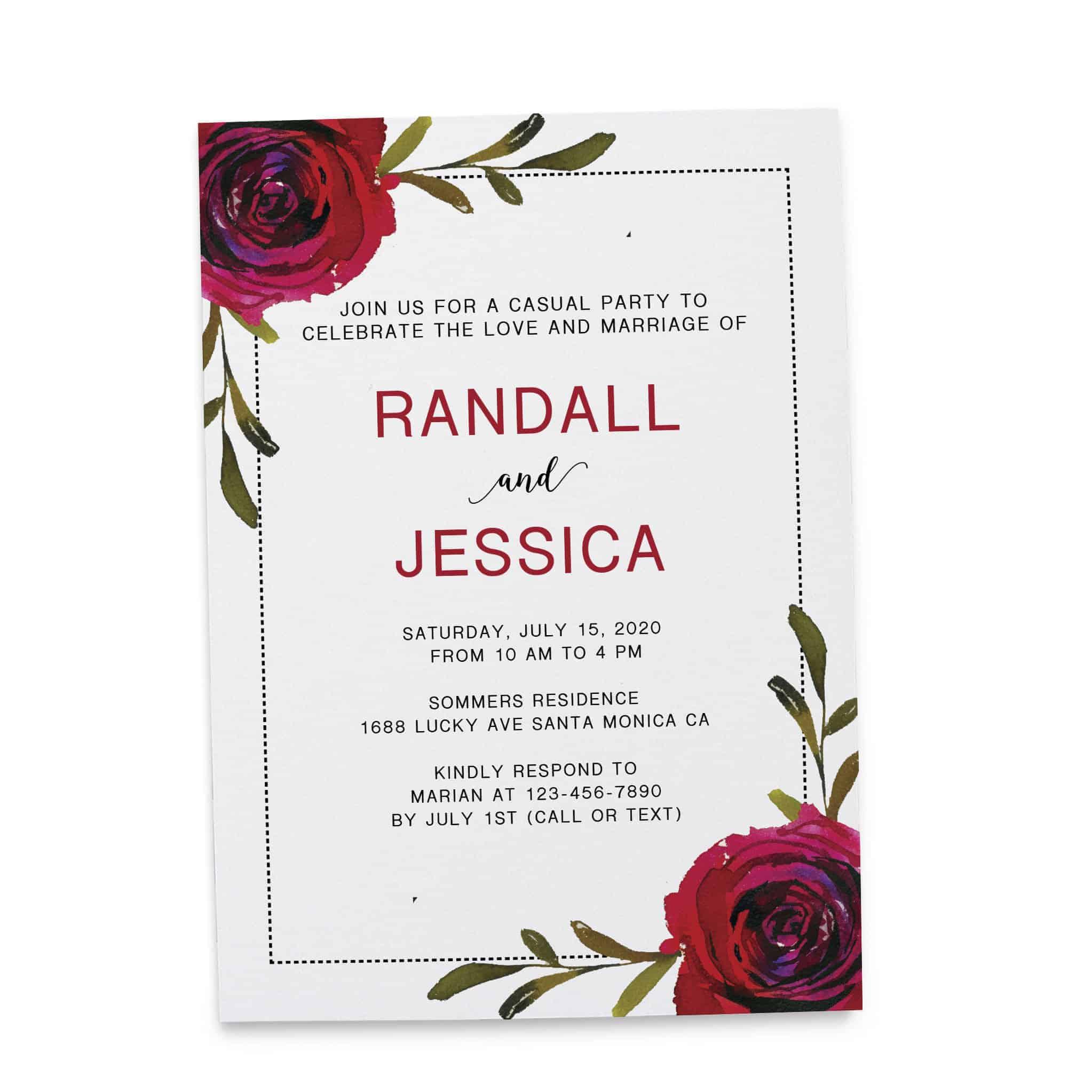 Post Elopement Party Invitation Cards, Custom Wedding Celebration Cards, Wedding Favors, Dazzling Roses Theme elopement308