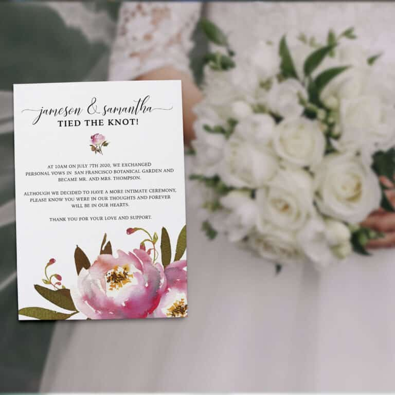 "Elopement Announcement Cards ""Tied the Knot!"", Wedding Announcement Cards, Post- Wedding Announcement Cards, Incredible Floral Design elopement309"