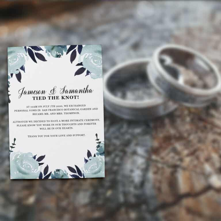 "Elopement Announcement Cards ""Tied the Knot!"", Wedding Announcement Cards, Post- Wedding Announcement Cards, Blue Water-Floral Theme elopement310"