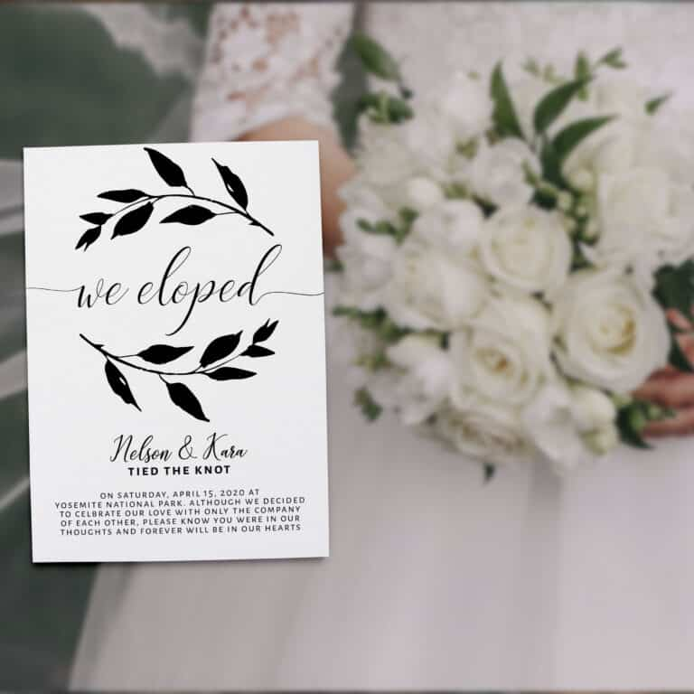 Married Announcement Card We Eloped, Wedding Announcement Cards, Printed Elopement Announcement Cards Tied The Knot elopement313