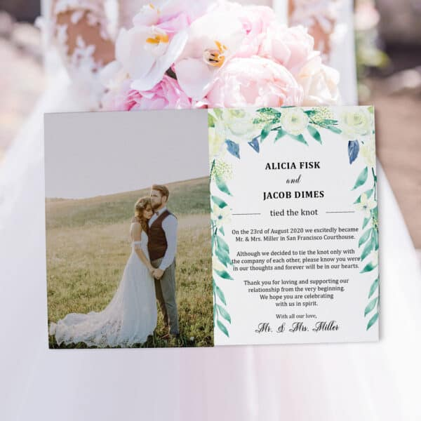 "Elope Announcement Card with Photo ""We Eloped"", Wedding Announcement Cards, Printed Just Married Announcement Cards elopement321"