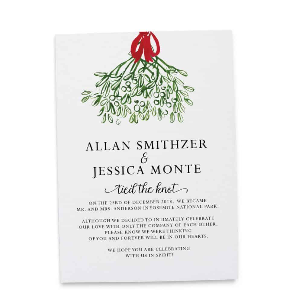 """Simple Elopement Announcement Cards """"Tied the Knot!"""", After Marriage Notice, Elopement Announcement, Green Floral Design #339 elopement339"""