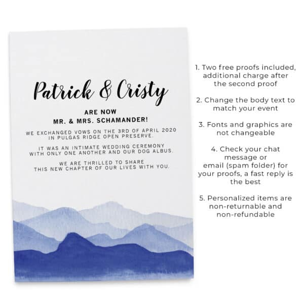 "Are Now Mr. and Mrs.!"" Just Married, Mountain View Elopement Wedding Announcement Flat Cards, Marriage Announcement #354 elopement354"