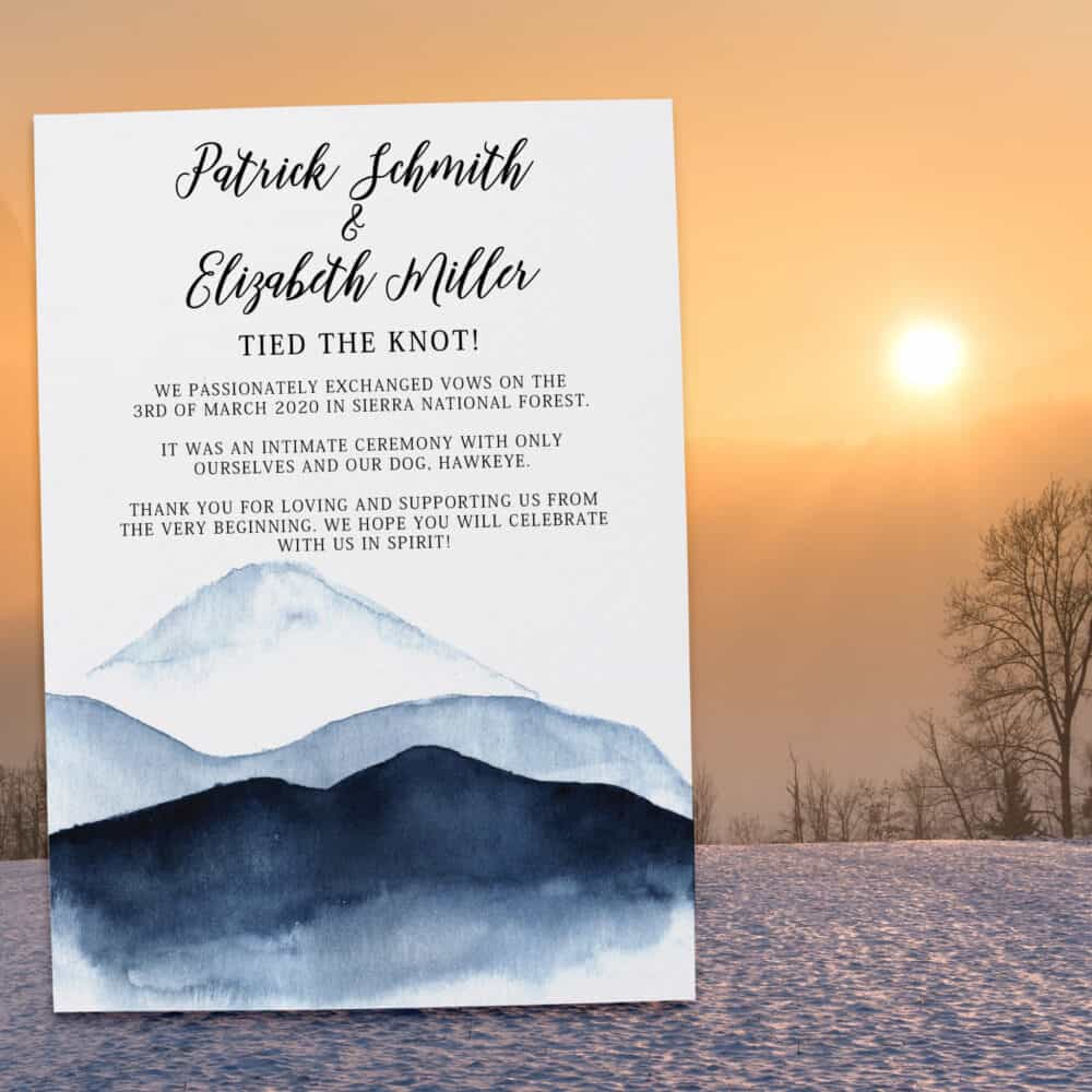 """Simple Mountain View """"Tied the Knot!"""" Elopement Announcement Card, We are Married, Elopement Wedding Announcement Cards #355 elopement355"""