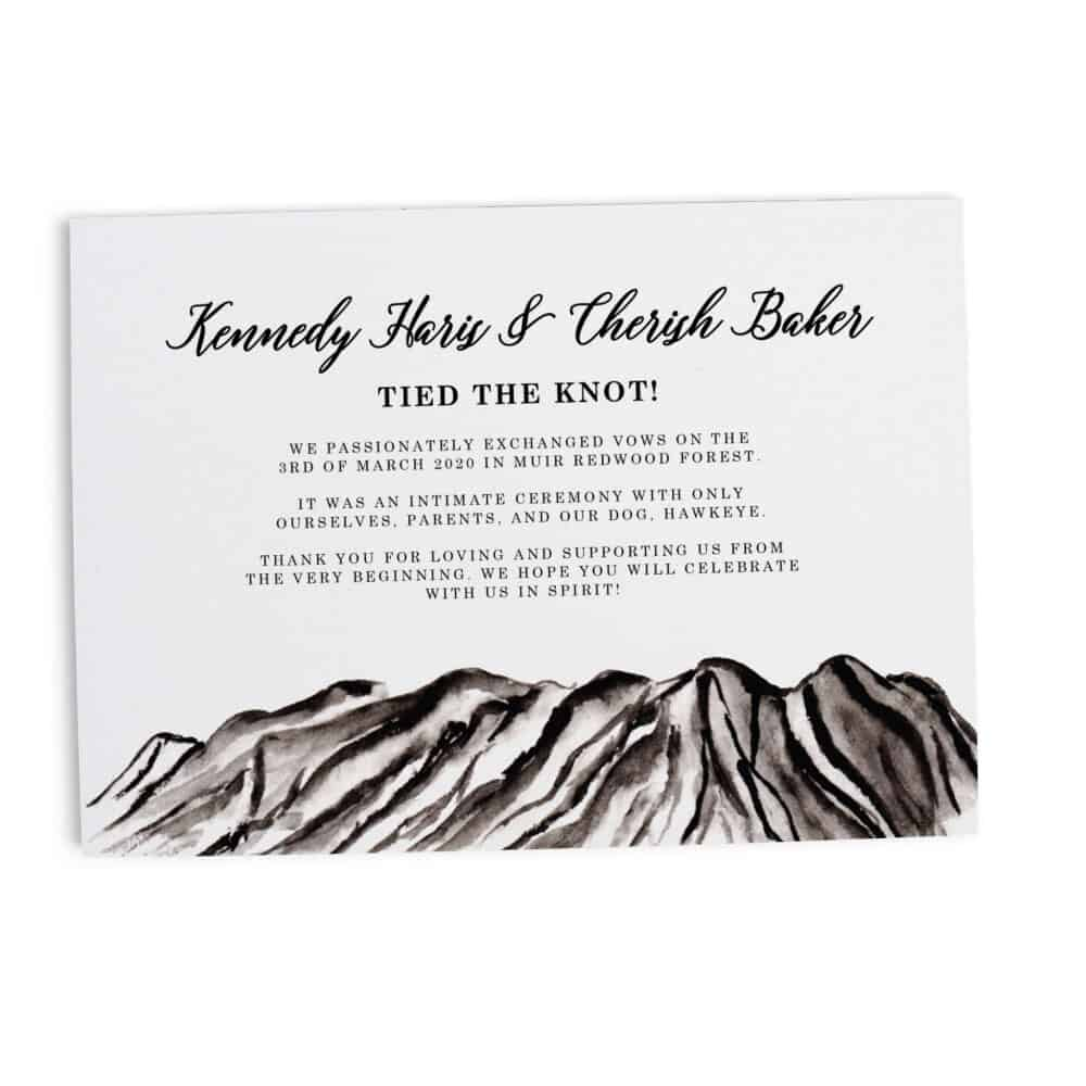 "Stylish Rocky Mountain ""Tied the Knot!"" Announcement, We are Married, Elopement Announcement Flat Cards, After Marriage Announcement #357 elopement357"
