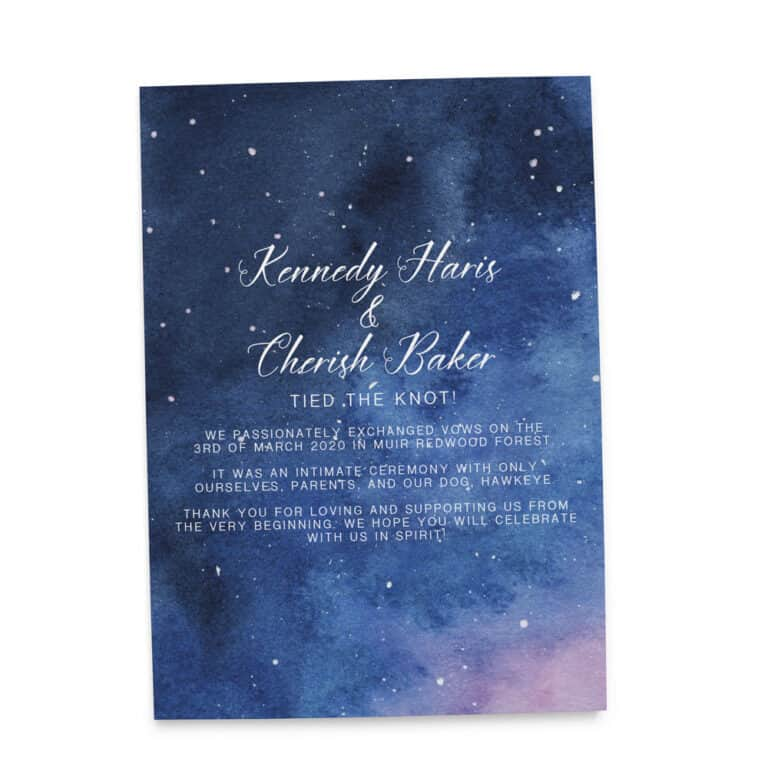 Tied The Knot Elopement Announcement Card, Watercolor Galaxy Celestial Wedding Card 359 elopement359