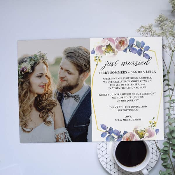Just Married Floral Pink and Blue Elopement Announcement Card, Wedding Announcement Cards #368 elopement368