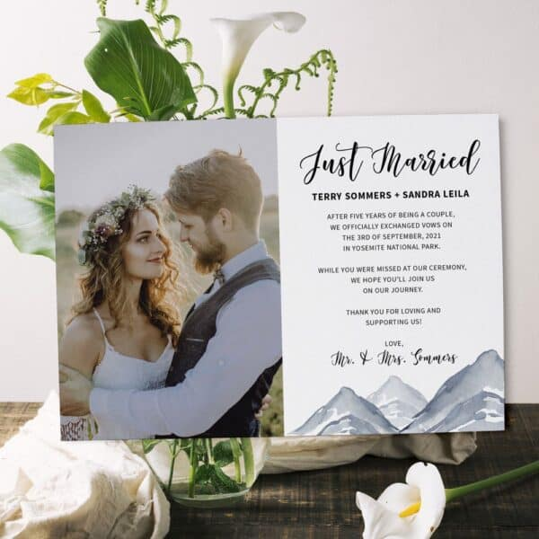 Just Married Mountain Elopement Announcement Card, Wedding Announcement Cards #369 elopement369