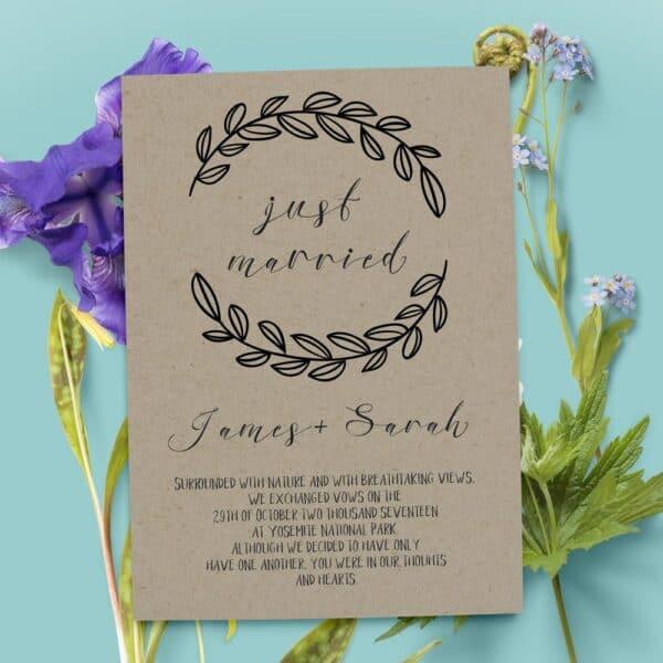 Rustic Elopement Announcement Card, Wedding Announcements Elopement Card, Just Married Card, Eloped Card elopement37